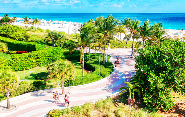 Aerial view of the South Beach Boardwalk in Miami, Florida
