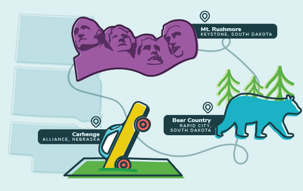 Illustration of Midwest roadside attractions including Mt. Rushmore, Carhenge, and Bear Country USA