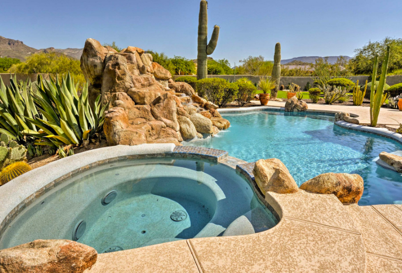 Pool surrounded by the desert and cacti in Scottsdale, Arizona