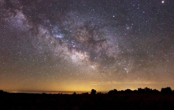 Milky Way photographed while stargazing above the Buffalo National River in Arkansas
