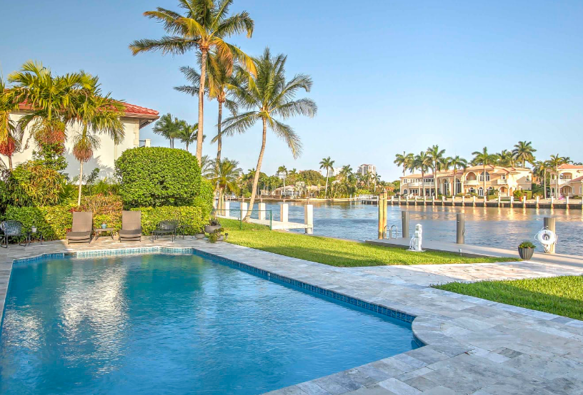 Fort Lauderdale vacation rental with a pool overlooking a canal