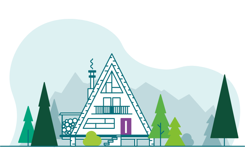 Illustration of an A-Frame cabin in the woods