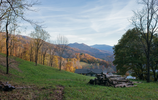 Views of fall foliage and the Blue Ridge Mountains in North Carolina