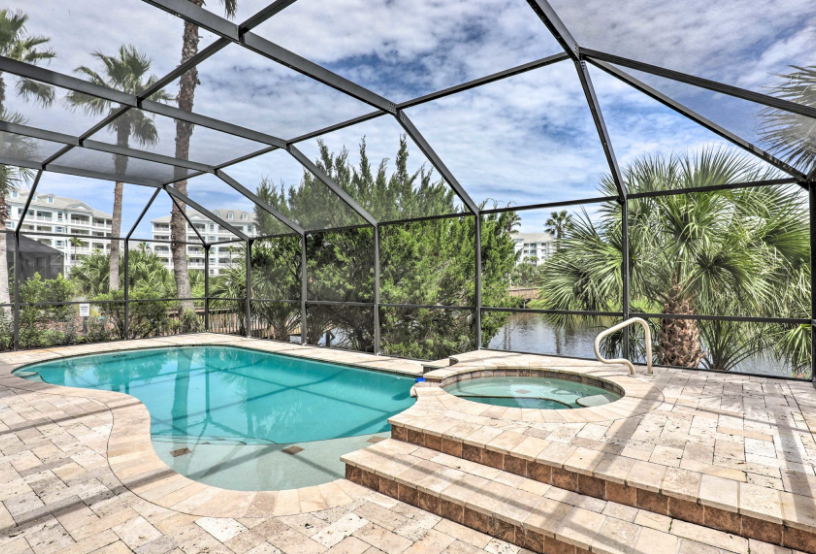 Pool inside a screened porch at a Jacksonville, Florida vacation rental