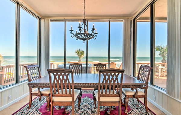Luxury vacation rental dining room overlooking the ocean in Ponce Inlet, Florida