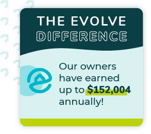 Graphic of The Evolve Difference in Sevierville, Tennessee showcasing how much vacation rental owners can earn in the area