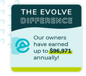 Graphic of The Evolve Difference in Gulf Shores, Alabama showcasing how much vacation rental owners can earn in the area