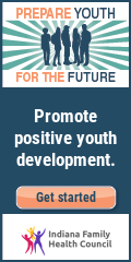 Promote positive youth development. Get started. With a drawing of teen silhouettes.
