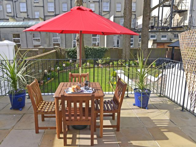Private patio of 1-bed Gresham House