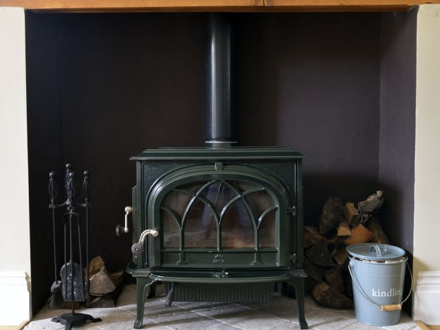 Lovely woodburning stove in countryside lodge