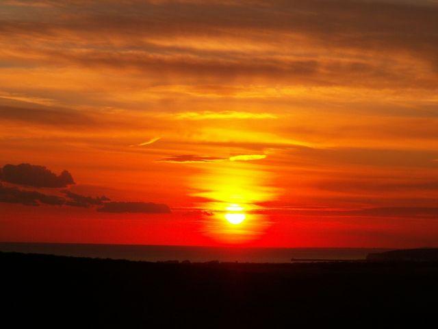 Sunset over sea at Friston