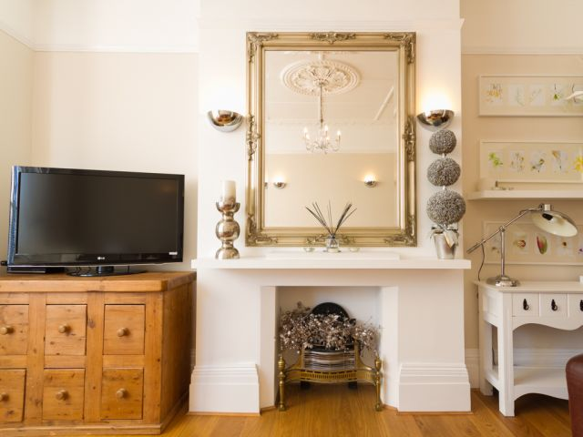 Feature fireplace in Eastbourne holiday let