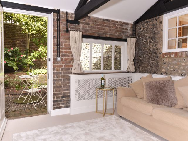 Lounge leads to private courtyard