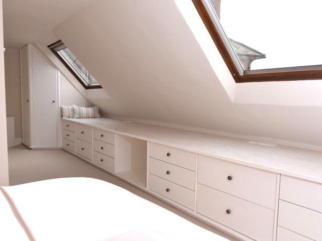 Upstairs bedroom has lots of storage