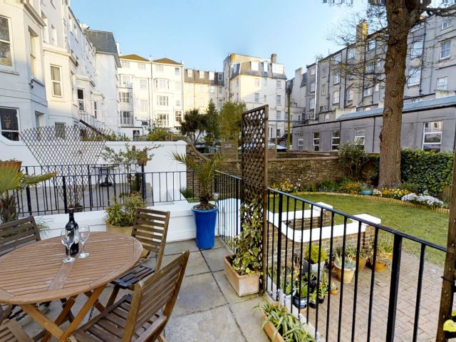 Private rear patio in Gresham House 2-bed