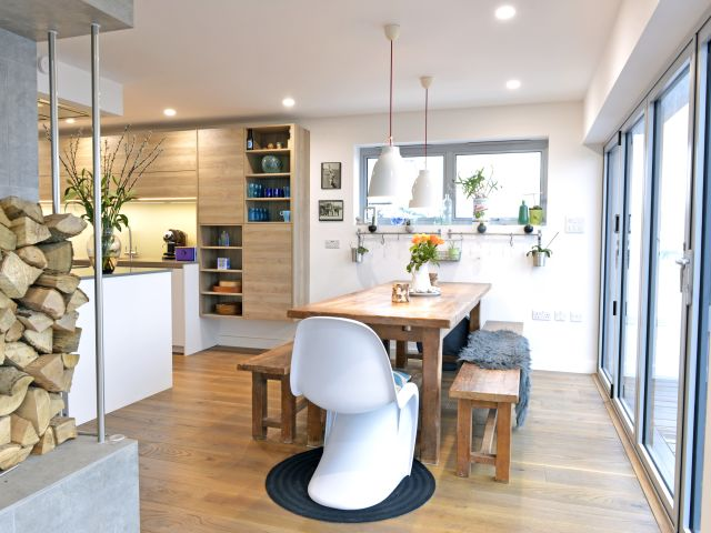 Dining area of beach house in Pevensey Bay
