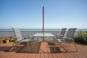 Outdoor dining at the beach house