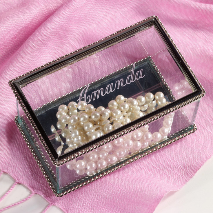 Wedding Gift For Bridesmaid: Personalized Glass Memory Box For Bridesmaids