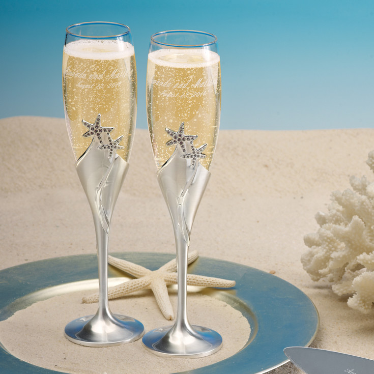 beach theme wedding cake serving set starfish champagne flutes wedding toasting flutes 11164