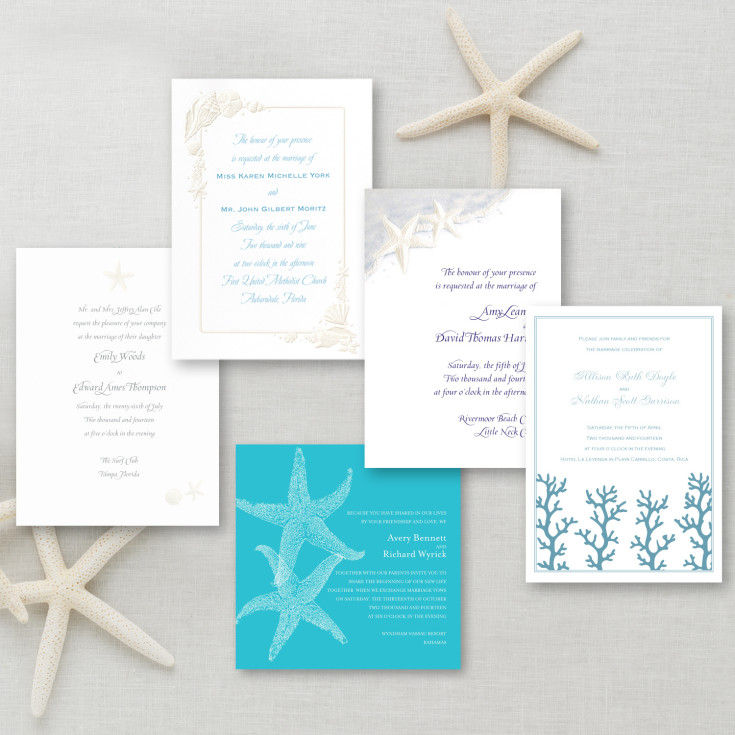 beach wedding invitation themed invitation sample kit 1590