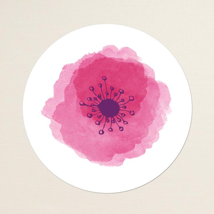 Round Wedding Invitation Label 1: Watercolor Poppy Round Label