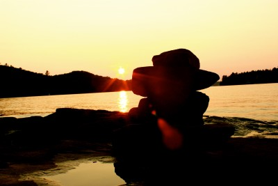 Muskoka, Ontario - Inukshuk at Sunset