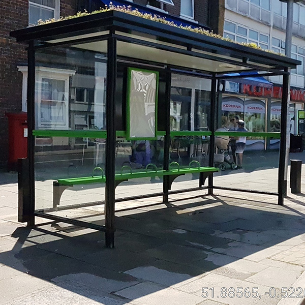 Bus shelters city haven side view