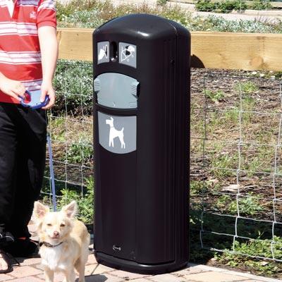 black standing - dispenser - bags - shute