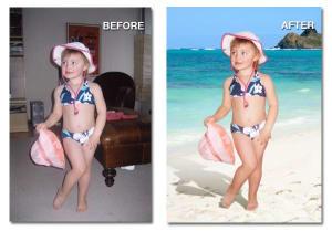 background change little girl on beach