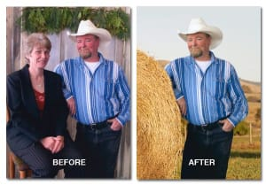 background change example man leaning on haystack