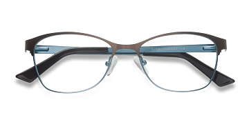 Brown Blue Sabrina -  Metal Eyeglasses