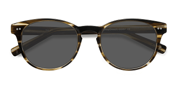 Brown Striped Till Dawn -  Vintage Acetate Sunglasses