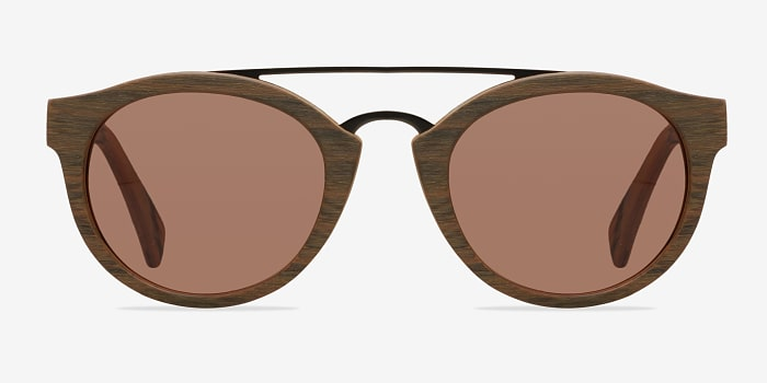 Brown/Striped Enzo -  Wood Texture Sunglasses
