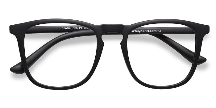 Matte Black Central -  Fashion Plastic Eyeglasses