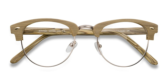Yellow Esteban -  Fashion Wood Texture Eyeglasses