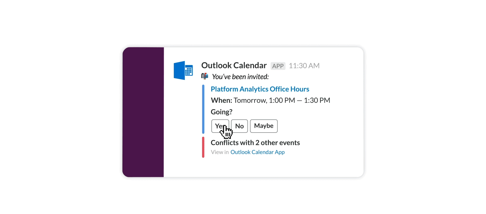 Respond to Outlook schedule