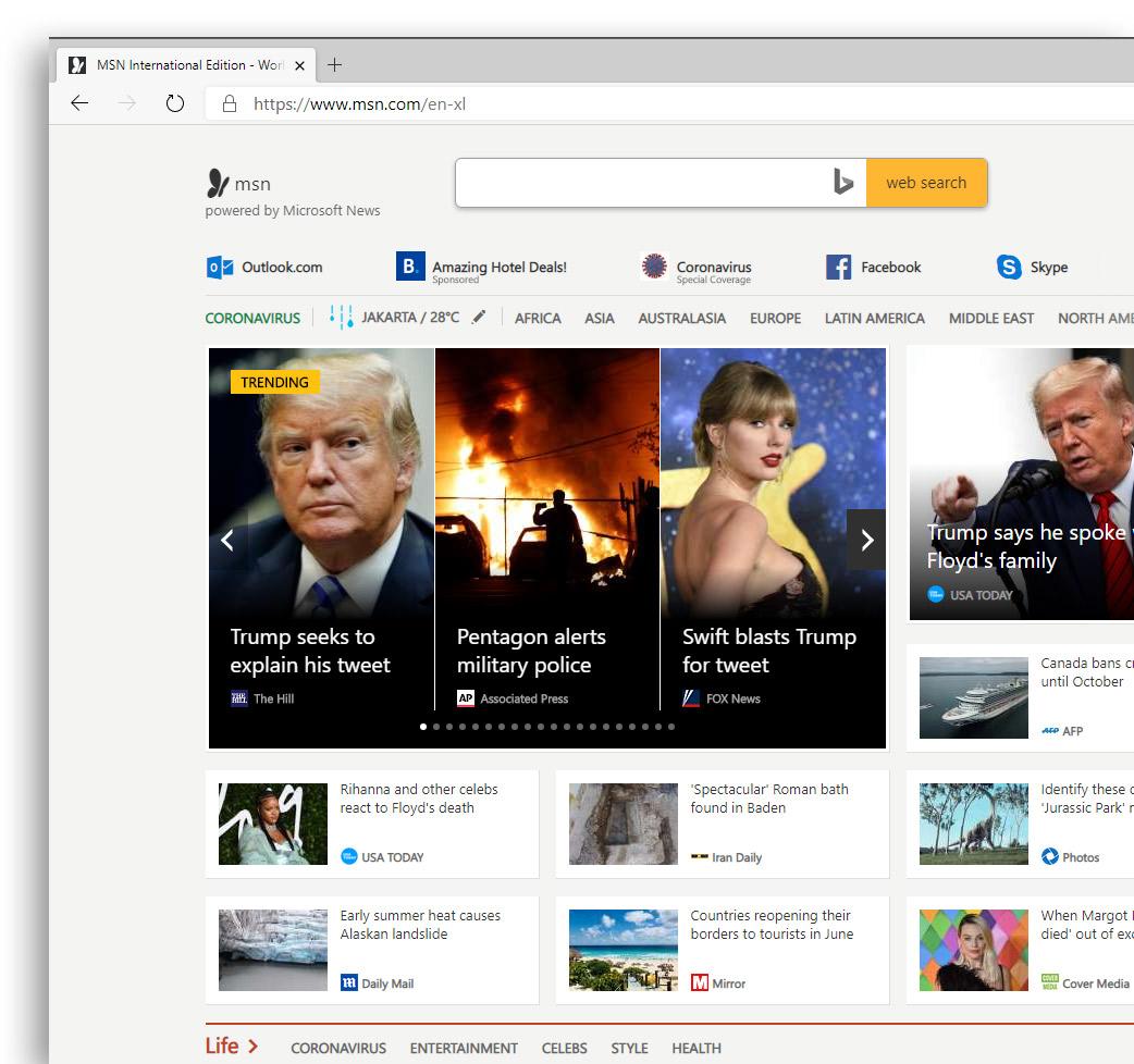 MSN on Edge browser