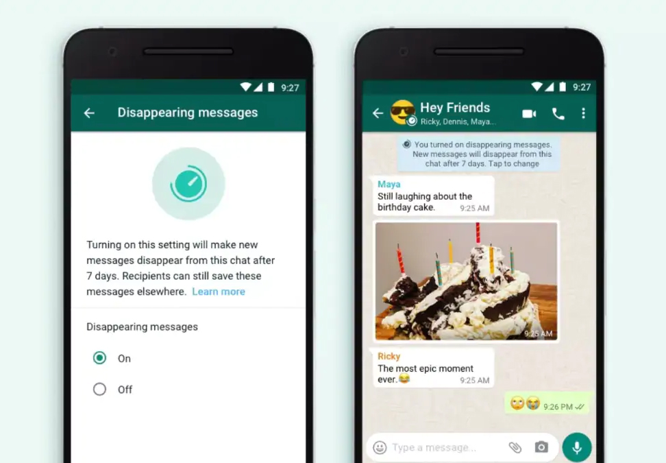 WhatsApp, disappearing messages