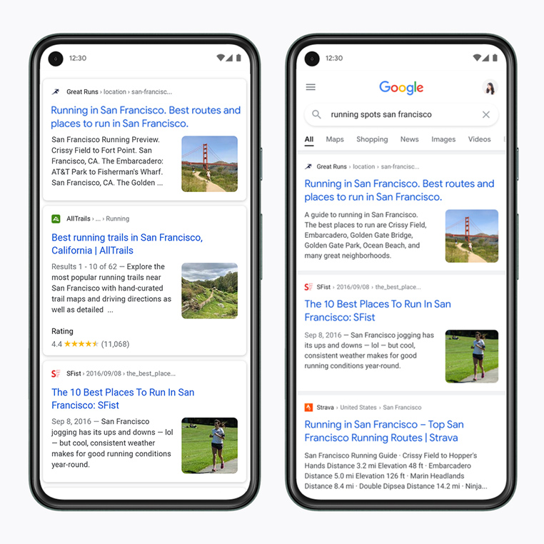 Google Search redesign January 2021