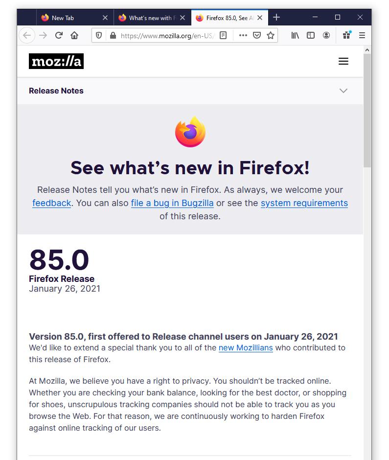 Mozilla Firefox 85.