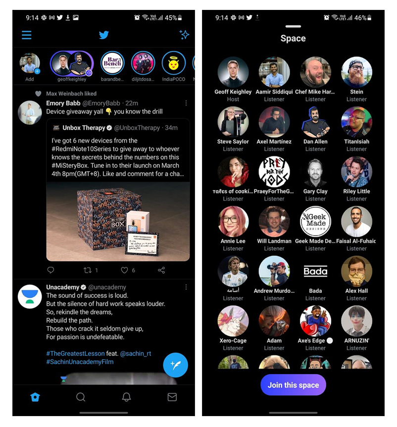 Twitter Spaces, Android