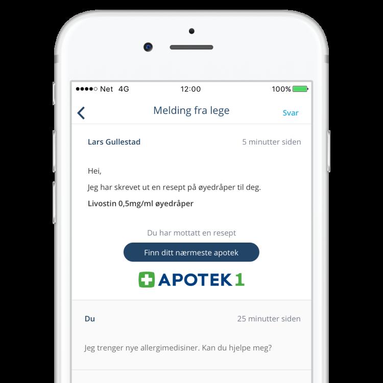 En iPhone som viser en melding fra lege med en knapp for å finne nærmeste Apotek1