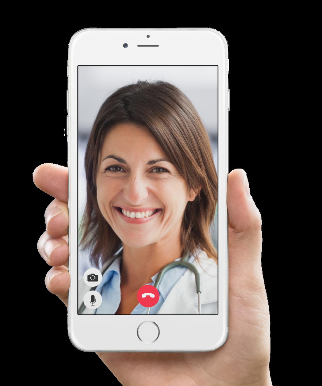 En iPhone som viser en videosamtale med en lege