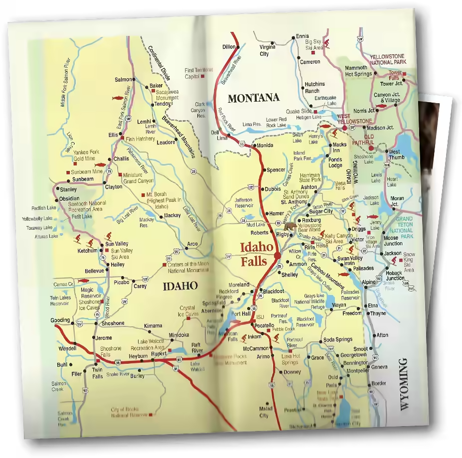 paper map of eastern idaho.