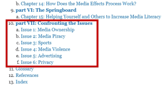 This section is then followed by explanations of six different issues, including advertising, piracy, and ownership.