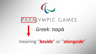"The prefix ""para"" in ""Paralympic"" is derived from a Greek word that means ""beside"" or ""alongside."""