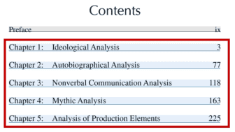 In this work, the authors explain five different kinds of analysis that can be used to examine all types of mass communication.