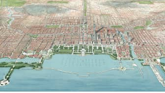 Daniel Burnham's 1909 Plan of Chicago, an integration of a series of projects for the city, included the building of Grant Park around the Illinois Central Railroad property.
