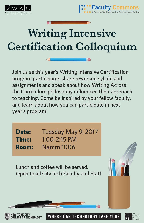 Writing Intensive Certification Colloquium 1