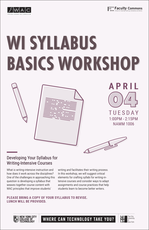 WAC WI Syllabus Basics Workshop 1